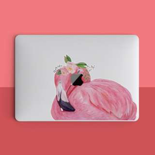 Floral Headpiece Pink Flamingo Macbook Laptop Vinyl Decal