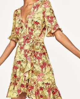 Zara Inspired Yellow Floral Wrap Dress