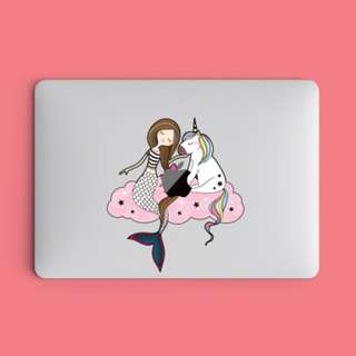 Mermaid and Unicorn on Starry Cloud Macbook Laptop Vinyl Decal