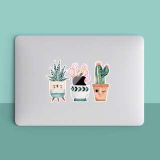 Happy Three Potted Plants Cactus Macbook Laptop Vinyl Decal