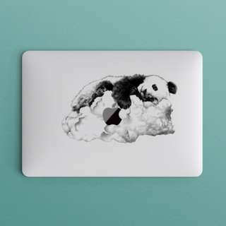 Monochrome Panda Lying on Clouds Macbook Laptop Vinyl Decal