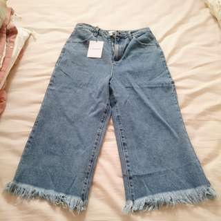ASOS Frayed Jeans Wide Leg Denim Festival Look Hippie Boho