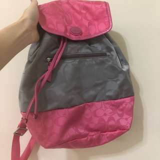 Coach 尼龍配色後背包 粉色 小包