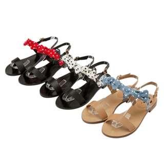 米妮蝴蝶結條帶一字涼鞋