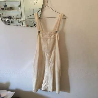 White Corduroy Pinafore/Overall Dress