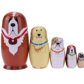 5pcs Basswood Dog Type Matryoshka Dolls Handmade Russian Nesting Dolls Gift