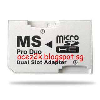 [BN] MicroSD to MS Pro Duo Dual Slot Adapter For PSP & More (Brand New)