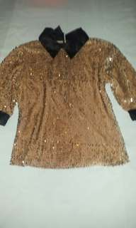 Gold Sequin collared Top