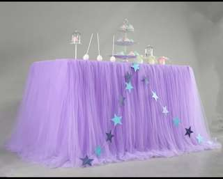 Purple tutu table skirting for rent