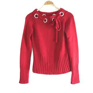US Red Sweater Top
