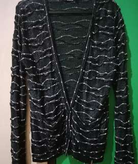 Black striped knitted Cardigan