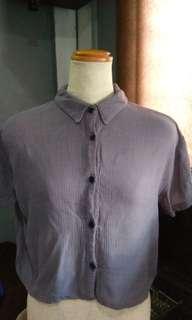 Button down gray polo blouse