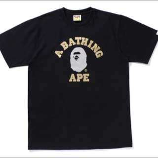 🚚 A Bathing Ape Gold Silver Foil College Tee M