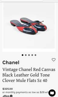 REPRICED!!! AUTHENTIC Vintage Chanel Canvas Mules Flat