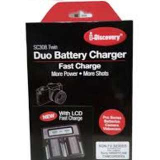 SC308 Twin / Dual Battery Fast Charger with LCD Display