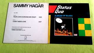 STATUS QUO . a mess of blues ● SAMMY HAGER . your love is driving me crazy / i don't need love ( buy 1 get 1 free )   vinyl record