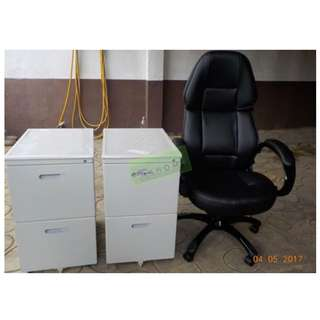 EXECUTIVE CHAIRS AND 2 DOOR MOBILE PEDESTAL CABINET