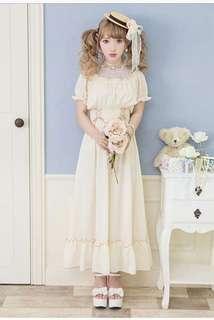 🚚 夢展望 蕾絲公主短袖收腰洋裝 連身裙 原單