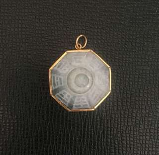 Pa Kua Jade Necklace Pendant with 14K Gold