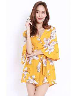 Floral Overlap Romper Playsuit ( Mustard Yellow )