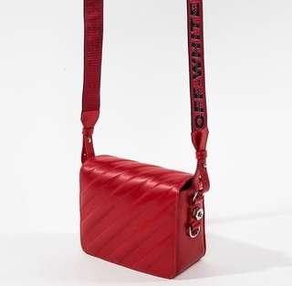 OFFWHITE 全皮紅色夾子包