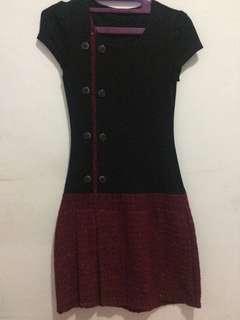 Dress semiformal black maroon