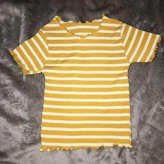 Yellow plaid letuce shirt