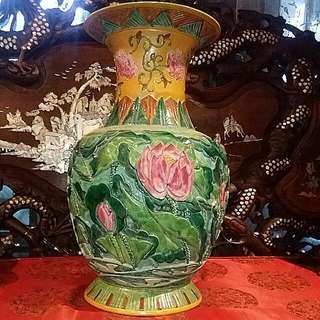 Vintage Chinese Lotus Flower Hand Carved And Painted Porcelain  Vase