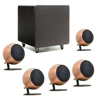 Orb speakers 5.1 system bronze finish excellent condition with 2 floor stands
