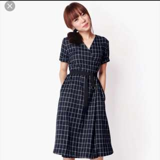 A For Arcade Mind Over Matter Dress In Navy Checks (XS)