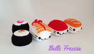🚚 Handmade Sushi Crochet Keychain Gift Teacher Children Day