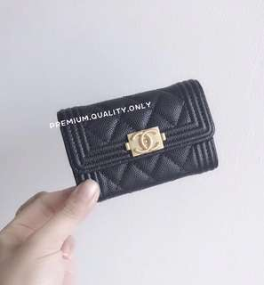 Chanel Boy Card Holder- black