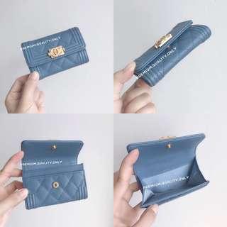 Chanel Caviar Boy Card Pouch- blue