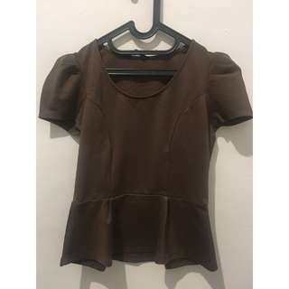 blouse kerja coklat