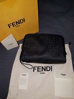 FENDI laminated canvass pouch