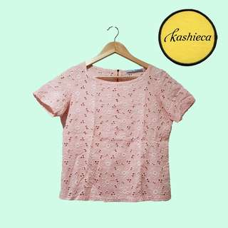 KASHIECA PINK BLOUSE WITH FLORAL PATTERN