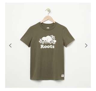 🚚 全新美國帶回正品 Roots 女T恤  橄欖綠