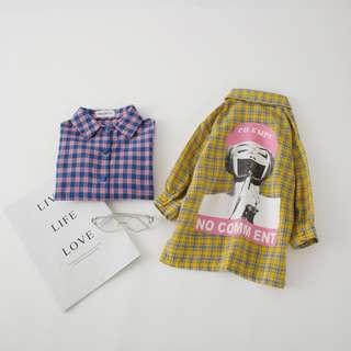 ▶2018韓版秋冬童裝 ▶上裝跳色格紋洋氣印花兒童襯衫
