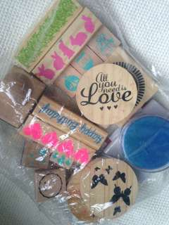 Many wooden block stamp and  some inks