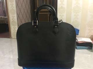 Authentic LOUIS VUITTON Alma Hand Bag Noir Black Epi