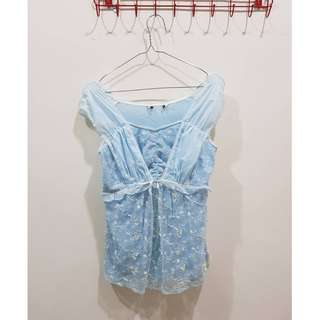 專櫃剪標品 水藍削肩蕾絲花上衣(M)