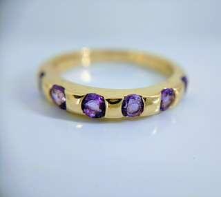 紫水晶黃金戒指
