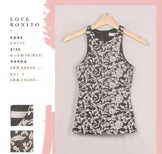 Tanktop love bonito / atasan wanita / tank top