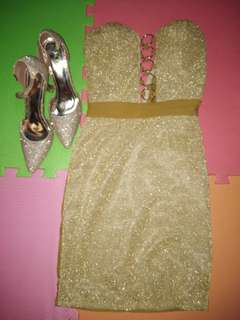 FOR SALE SPARKLY GOLD DRESS (Hndi kasama yung shoes)