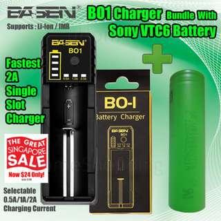 Basen BO1 Single Slot Rapid Charger Bundle With Sony VTC6  3000mAh 15A 18650 Battery (GSS)