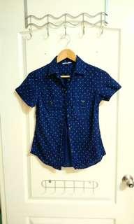 🚚 Net圓點藍襯衫