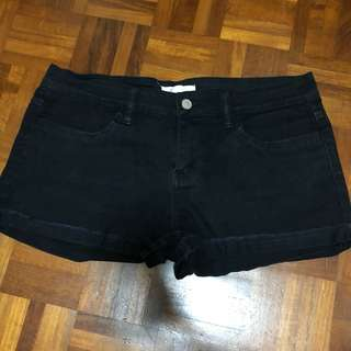 F21 Black Denim Shorts