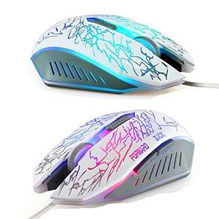 (248) Owbb Wellrui R9–White-Light Blue LED USB Wired Optical Mouse