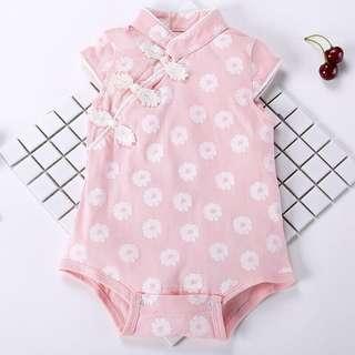 Pink baby girl cheongsam onesie bodysuit 66cm