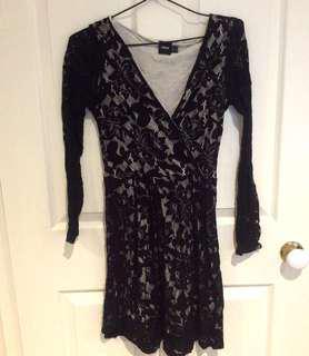 ASOS Black Lace Skater Dress